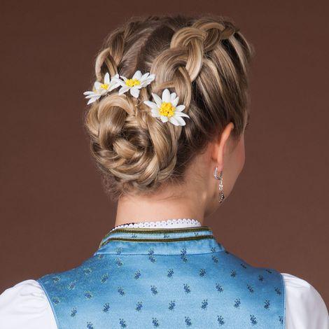 Haar-Curlies Edelweiss Stoffblüten 3-er Set (creme-weiß) Bild 2