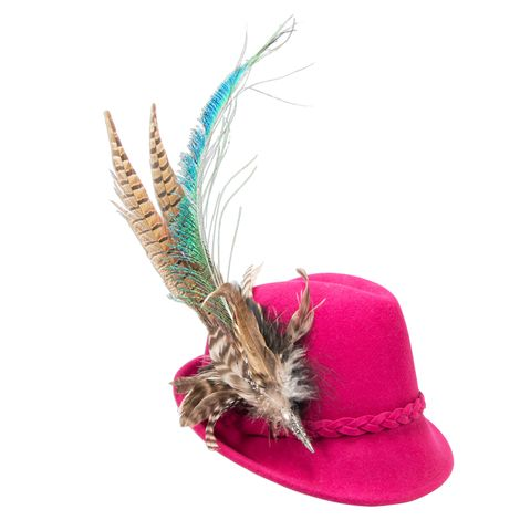 Filzhut Flechtverzierung mit Pfauenfeder (pink-fuchsia) Bild 1