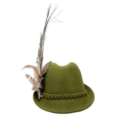 Filzhut Flechtverzierung mit Pfauenfeder (grün) Bild 3