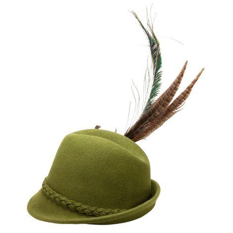 Filzhut Flechtverzierung mit Pfauenfeder (grün) Bild 4