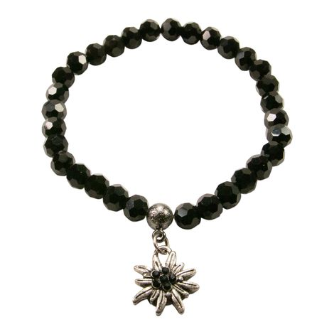 Perlen-Trachten-Armband Strass-Edelweiss mini (schwarz)