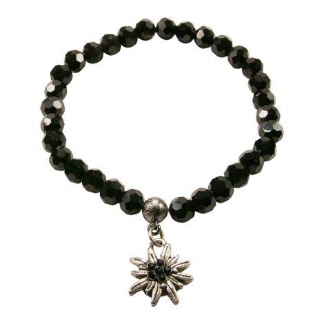 Perlenarmband Strass-Edelweiss mini (schwarz) Bild 1