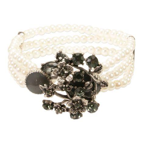 Perlen-Trachten-Armband Theresa (grau)