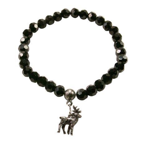 Perlenarmband Hirsch (schwarz) Bild 1