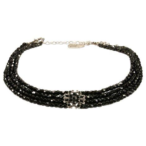 Perlen-Kropfkette Amalia (schwarz) Bild 1
