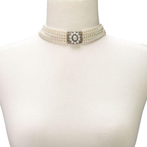 Perlen-Kropfkette Elisa (creme-weiß) Bild 4