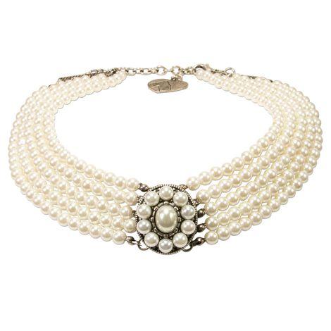 Perlen-Kropfkette Elisa (creme-weiß) Bild 1