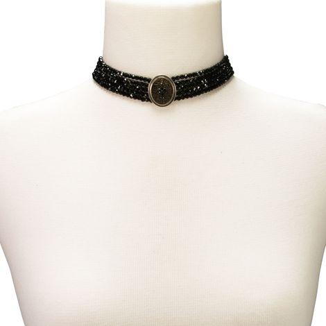 Perlen-Kropfkette Lotte (schwarz) Bild 3