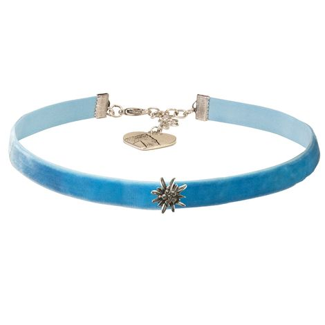 Samt-Kropfband Edelweiss mini (hell-blau) Bild 1