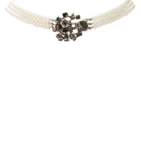Perlen-Kropfkette Theresa (creme-weiß, graue Steine) Bild 3