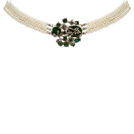 Perlen-Kropfkette Theresa (creme-weiß, grüne Steine) Bild 3
