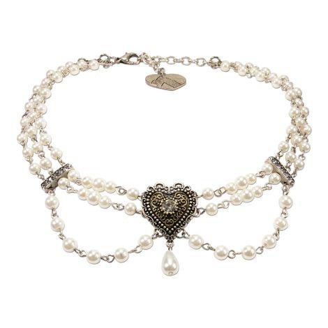 Perlen-Kropfkette Trachtenherz (creme-weiß) Bild 1