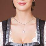 Y-Halskette Strass-Edelweiß (antik-silber-farben)