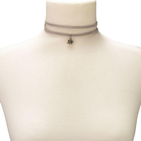 Wickelband-Halskette Edelweiß (grau) Bild 3