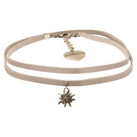 Wickelband-Halskette Edelweiß (grau) Bild 1