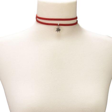 Wickelband-Halskette Edelweiß (rot) Bild 3