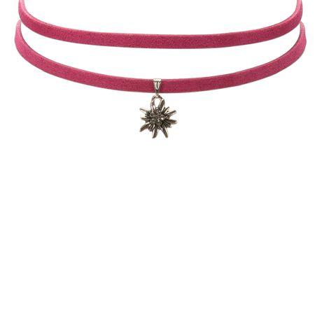 Wickelband-Halskette Edelweiß (pink-fuchsia) Bild 3