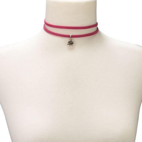Wickelband-Halskette Edelweiß (pink-fuchsia) Bild 4