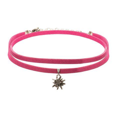 Wickelband-Halskette Edelweiß (pink-fuchsia) Bild 1