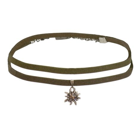 Wickelband-Halskette Edelweiß (grün) Bild 1