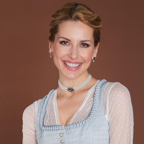 Perlen-Kropfkette Mary (creme-weiß, grauer Stein) Bild 2
