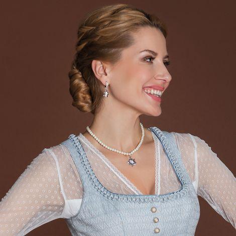 Perlen-Halskette Strass-Edelweiß klein (creme-weiß) Bild 2