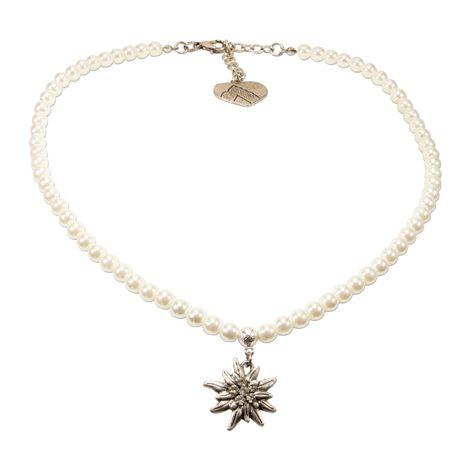 Perlen-Trachtenkette Strass-Edelweiß klein (creme-weiß)