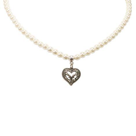Perlen-Halskette Strassherz-Hirsch klein (creme-weiß) Bild 3