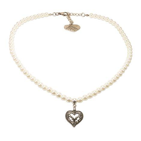 Perlen-Trachtenkette Strassherz-Hirsch klein (creme-weiß)