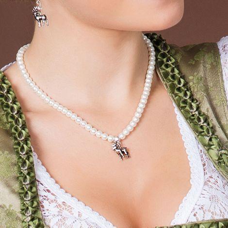 Perlen-Halskette Hirsch klein (creme-weiß) Bild 2