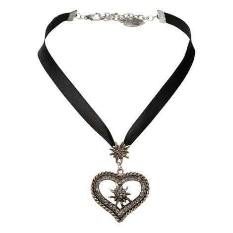 Satin-Halskette Strass-Edelweiss-Herz (schwarz) Bild 1