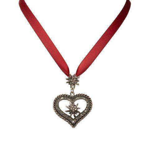 Satin-Halskette Strass-Edelweiss-Herz (rot) Bild 2