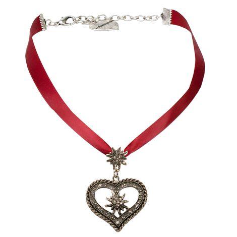 Satin-Trachtenkette Strass-Edelweiss-Herz (rot)