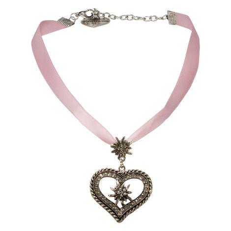 Satin-Halskette Strass-Edelweiss-Herz (rosa-rosé) Bild 1