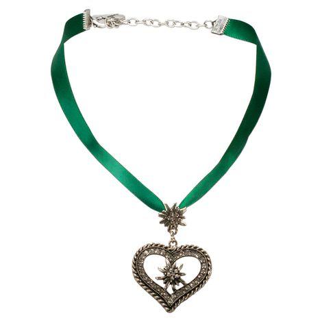Satin-Halskette Strass-Edelweiss-Herz (grün) Bild 1