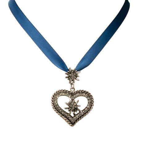 Satin-Halskette Strass-Edelweiss-Herz (blau) Bild 2