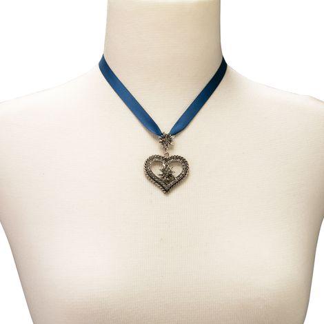 Satin-Halskette Strass-Edelweiss-Herz (blau) Bild 3