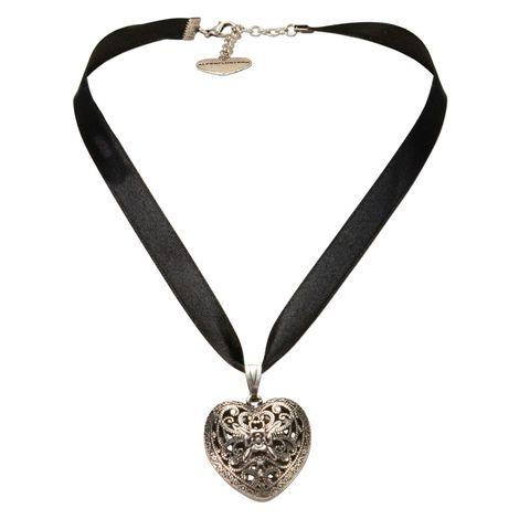 Satin-Halskette Trachtenherz (schwarz) Bild 1
