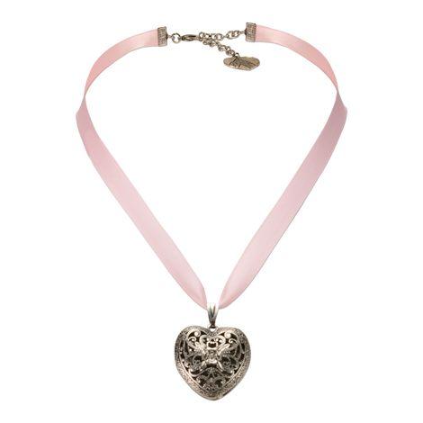 Satin-Halskette Trachtenherz (rosa-rosé) Bild 1
