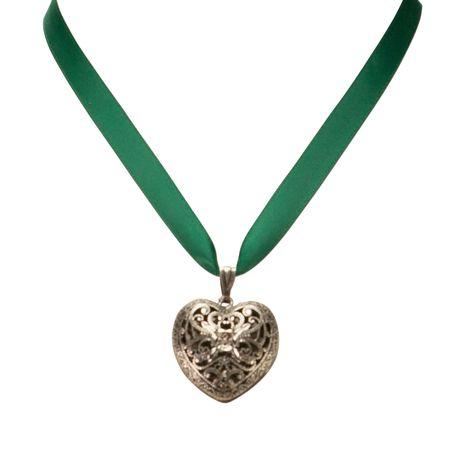 Satin-Halskette Trachtenherz (grün) Bild 2