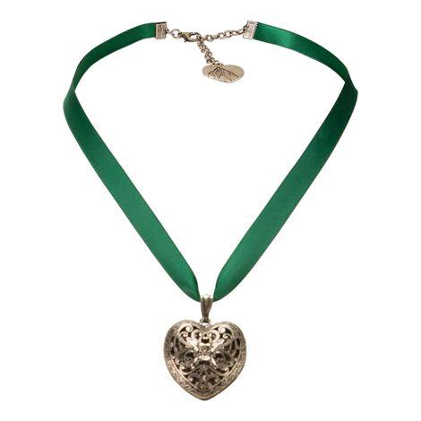 Satin-Halskette Trachtenherz (grün) Bild 1