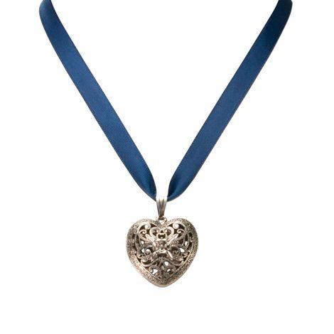 Satin-Halskette Trachtenherz (blau) Bild 2