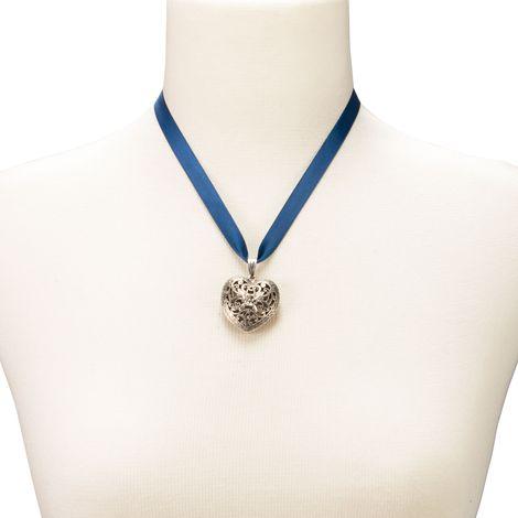 Satin-Halskette Trachtenherz (blau) Bild 3