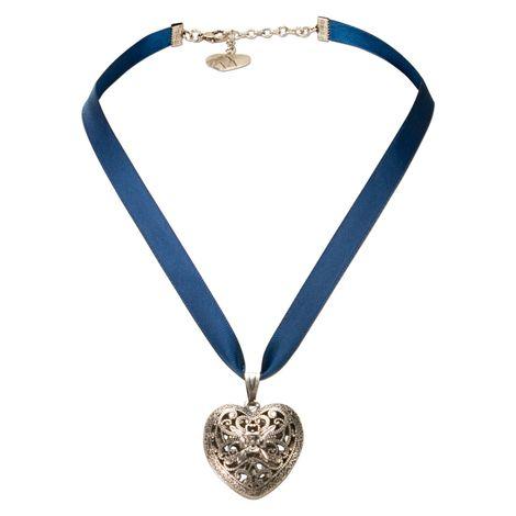 Satin-Halskette Trachtenherz (blau) Bild 1