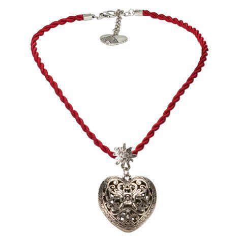 Kordel-Halskette Trachtenherz (rot) Bild 1