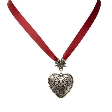 Satin-Halskette Strass-Herz (rot) Bild 2