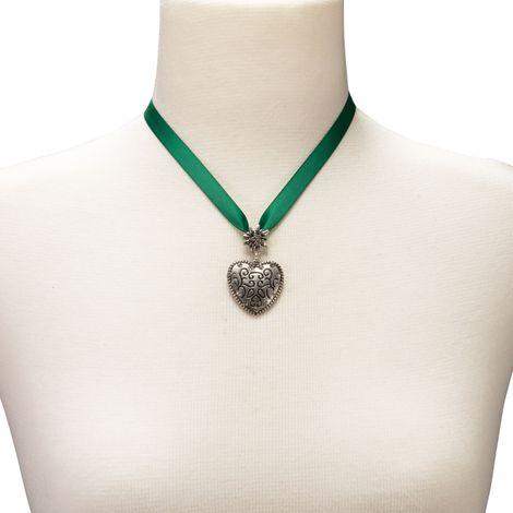 Satin-Halskette Strass-Herz (grün) Bild 3