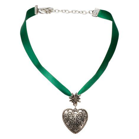 Satin-Halskette Strass-Herz (grün) Bild 1