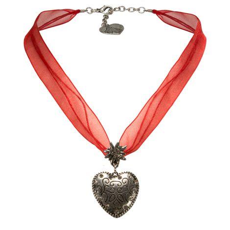 Organzaband-Trachtenkette Herz (rot)