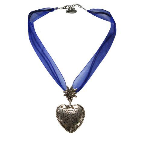 Organzaband-Halskette Strass-Herz (blau) Bild 1